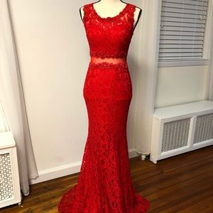 Red Lace Jeweled Dress